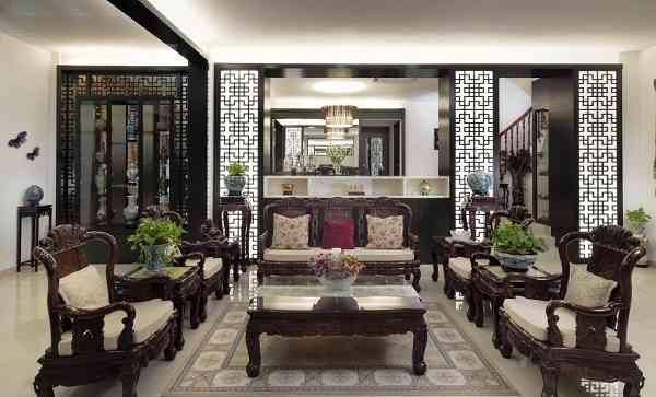 phòng khách cổ điển châu á