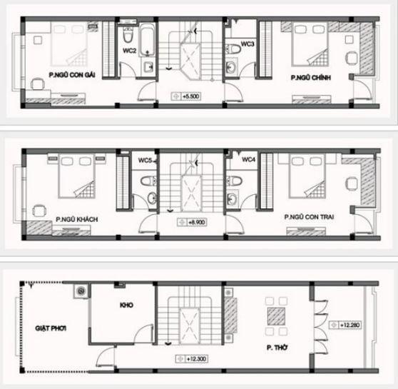 Bản vẽ các tầng khác thiết kế nhà có tầng hầm