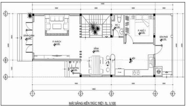 bản vẽ thiết kế nhà 2 tầng 5x15m