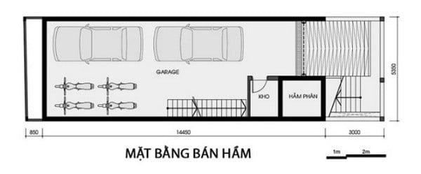 Bản vẽ thiết kế nhà có tầng hầm