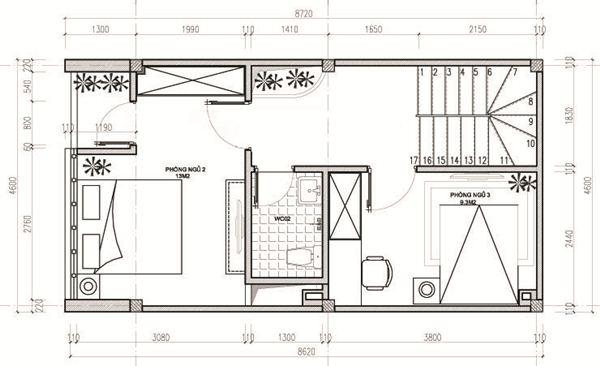 chi phí xây nhà 3 tầng 40m2