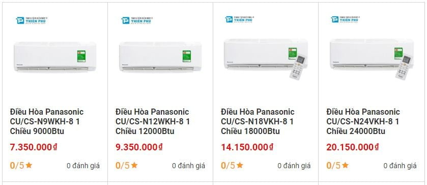 Giá điều hòa điện máy Thiên Phú