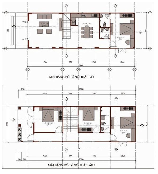 mẫu nhà đẹp 2 tầng 5x15m