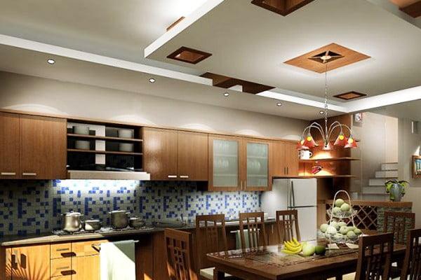 Mẫu trần thạch cao phòng bếp sang trọng