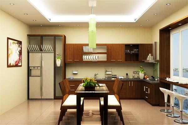 Mẫu trần thạch cao phòng bếp liền kề phòng khách