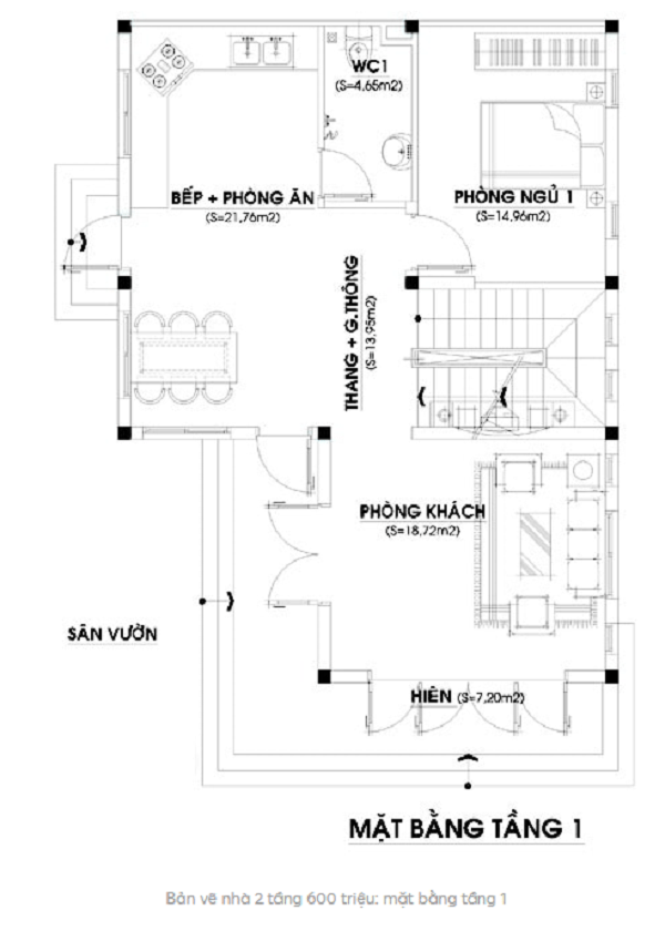 nhà mái thái 2 tầng 60m2