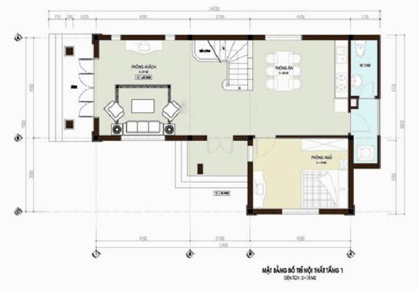 nhà đẹp 2 tầng 300 triệu 2 phòng ngủ
