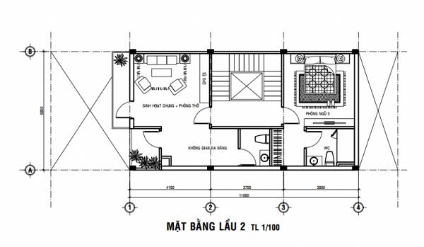 thiết kế nhà 40m2 3 tầng