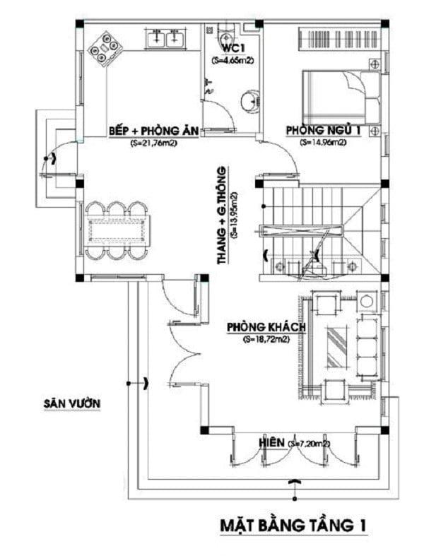 thiết kế nhà hình chữ l 80m2