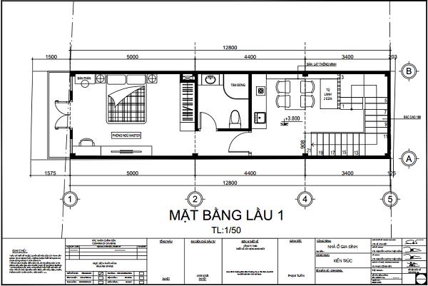 Nhà 3,6x12,8m, 1 trệt 3 lầu 2