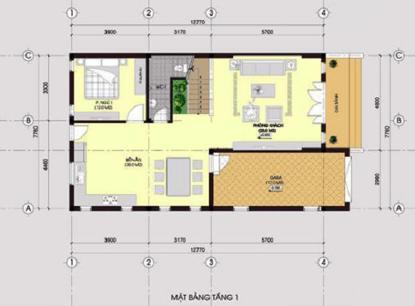 xây nhà 2 tầng giá 600 triệu chữ L sang trọng